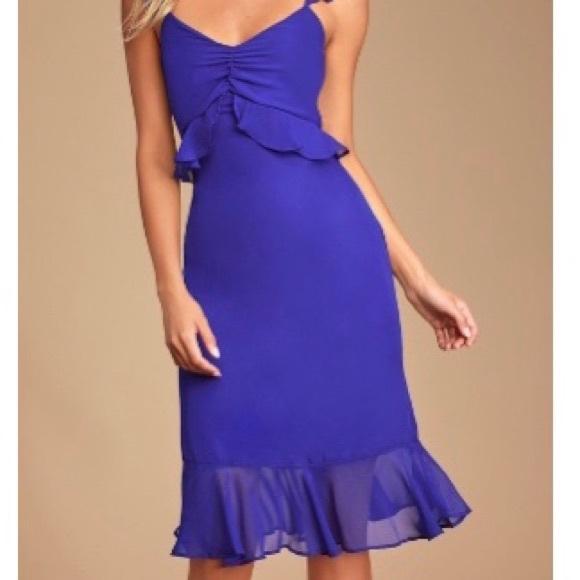 """Lulu's Dresses & Skirts - Lulus  """"Lovely in Love"""" Royal blue Midi Dress - M"""